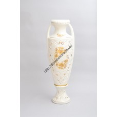 ваза напол. Веста белая (малахит)