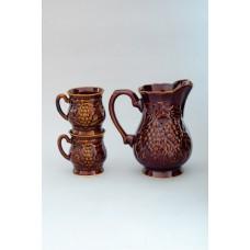 Кувшин +2-е чашки коричневый (Сл.)