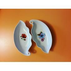 Салатник гребешок малый белый с деколью, 15,5 см (АВ)
