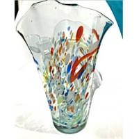 Стеклянная ваза неправильной формы разноцветная